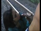 Careless Brunette Giving A Rough Blowjob And Deep Throat On The Train Tracks