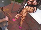 Hot Busty MILF Lady In Fishnet Makes Guy Cum Thanks To Her High Heals Only Then Boy Swallows Own Cum