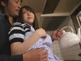 Japanese Young Housewife Blackmailed and Fucked In Kitchen By Husbands Elder Brother