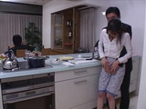 Japanese Housewife Blackmailed and Fucked in Kitchen By Husbands Friend