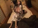 Drunken MILF In Kimono Banged By Two Guys