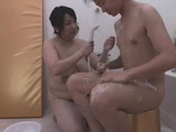 BBW Japanese Granny Bathing and Fuck Boy