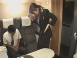 Clumsy Train Hostess Will Repay With Blowjob For Spilling Juice On Boys Pants