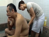 House Maid Gets Called By Her Kinky Employer To Rub His Back In The Bathroom