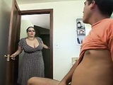 BBW Step Mother Catches Step Son Wanking In Toilet